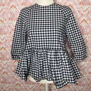 Victoria Beckham for Target XS Gingham Peplum Top